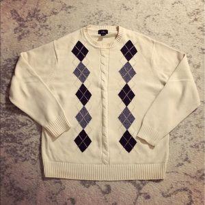 Ivory Men's blue & gray argyle knit sweater